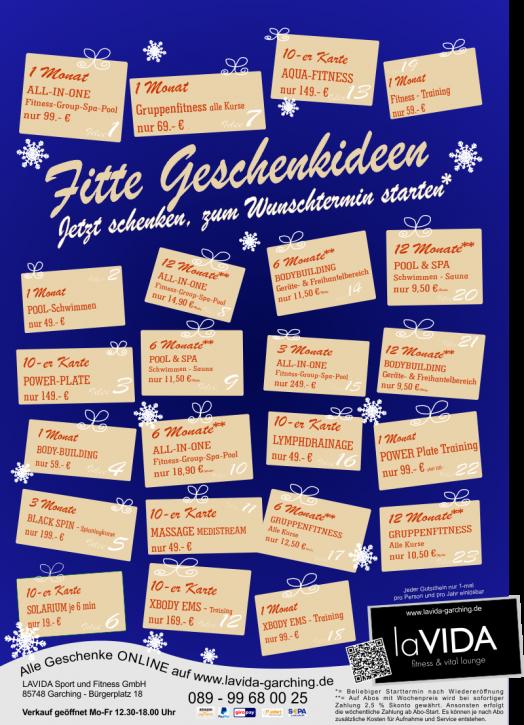 Gutschein 10-er Karte 1Jhr. LZ, versch. Highlights ab 49.- €